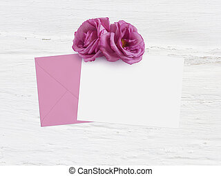 Mothers day, birthday or wedding mockup scene with envelope, blank card and rose flowers. Grunge white background, flat lay image, top view.