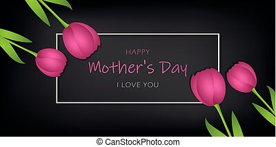 mothers day black greeting card with pink tulips