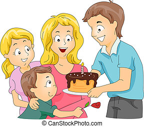 Father S Day Cake Illustration Of A Family Celebrating