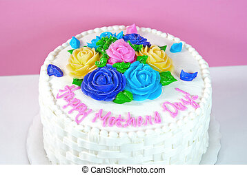 Mother's Day cake with colorful flowers.