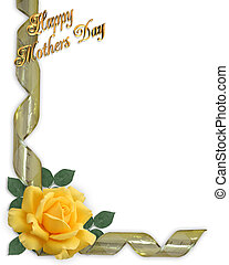 Mothers Day Card Border yellow rose