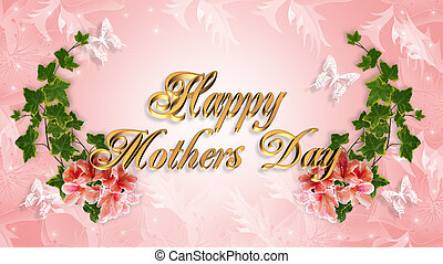 Mothers Day Card floral border - Image and illustration ...