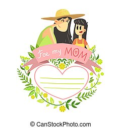 Mothers Day Card Template, Beautiful Happy Mother with Her Daughter with Floral Frame and Place for Text Vector Illustration