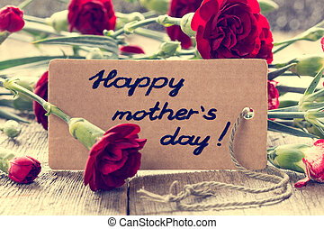 Mothers day card with carnations
