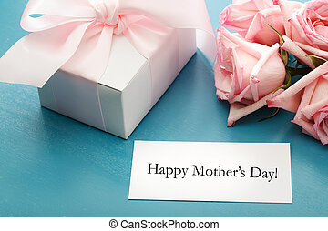 Mothers day card with gift box and roses