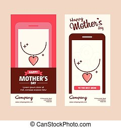 Mother's day card with heart logo and pink theme vector
