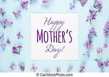 Mother's day card with lilac flowers on blue background