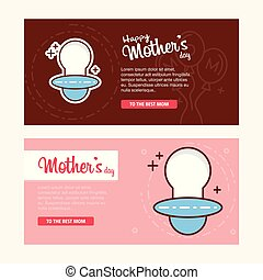 Mother's day card with logo and pink theme vector