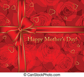 Mother's day card with roses and ribbon