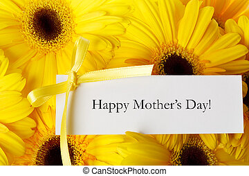 Mothers day message card with yellow gerberas