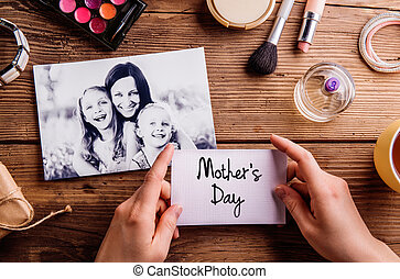 Mothers day composition. Black-and-white picture and make up pro