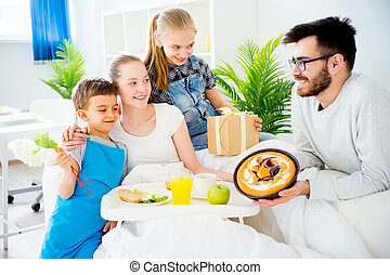 Breakfast in bed for mother