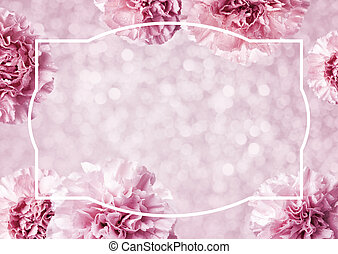 Mothers day concept of pink carnation flowers background with copy space