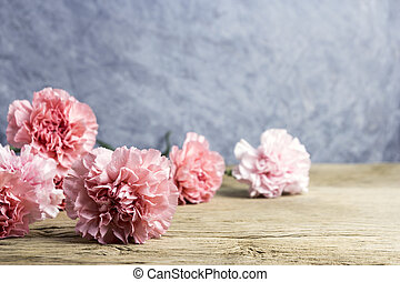 Mothers day concept of pink carnation flowers on old wood