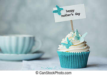 Mother's day cupcake with copy space to side