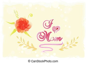 Mothers day design with watercolor flower in vintage style card