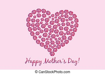 Mothers Day flower heart card vector