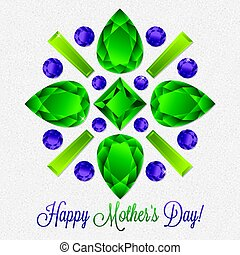 Mother's Day gem card in vector format.
