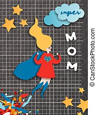 Mothers Day Greeting Card in Comics Paper Cut Style. Super...