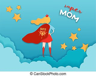 Mothers Day Greeting Card in Paper Cut Style. Super Mom...
