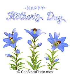 Mothers Day greeting card with blue flowers and glitter texture brush lettering inscription. Three blue lilies with water drops isolated on white background. Floral vector illustration.