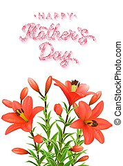 Mothers Day greeting card with pink glitter texture brush lettering inscription and flowers bouquet of red lilies with water drops. Floral vector illustration.