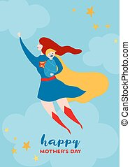 Mothers Day Greeting Card with Super Mom. Flying Superhero...