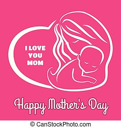 Mother's day greeting card with symbol of mom and baby. Vector illustration