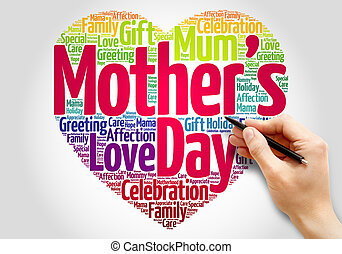 Mother's day heart word cloud