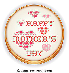 Retro wood embroidery hoop with needlework sewing design, Happy Mothers Day with big red and pink hearts in cross stitch, isolated on white background. EPS8 includes radial gradient.