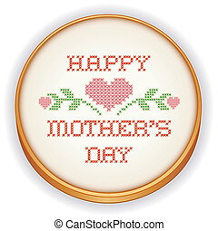 Retro wood embroidery hoop with needlework sewing design, Happy Mothers Day with pink hearts in cross stitch, isolated on white background. EPS8 includes radial gradient.