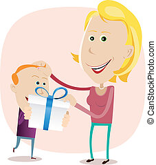 Illustration of a cute young boy offering a present to his mother for Mother's Day