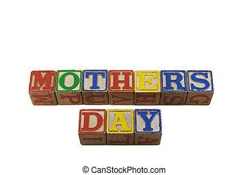 Mothers day in old alpabet blocks
