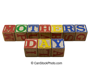 Mothers day in vintage alpabet blocks angled