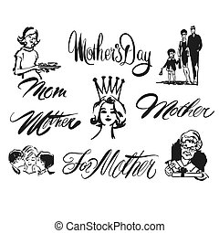 Mothers Day Lettering and Clipart Set