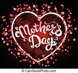 Mothers Day Lettering in Heart - Mothers Day Lettering in...