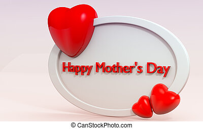 Mother's Day - Mother's day greetings, 3D frame with hearts