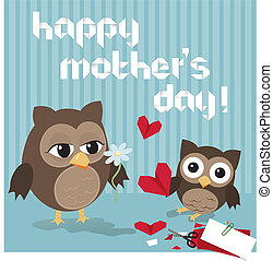 Mother's day owl/Cute illustration of happy mother and kid...