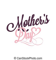 Mother's Day Pink Heart White Background Vector Image