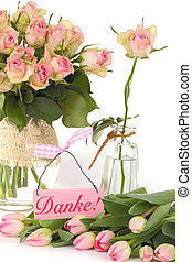 Mother's Day, thank you with roses and tulips