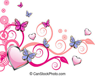 vector illustration of purple hearts on a floral background