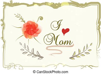 Mothers day watercolor greetings card