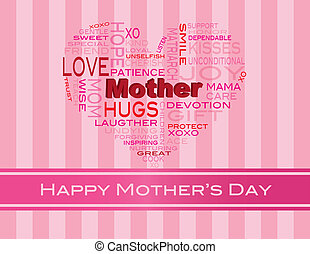 Mothers Day Word Cloud Greeting Card - Happy Mothers Day...