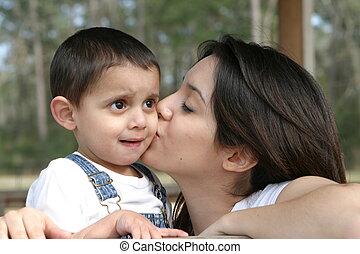 Mothers Kiss - Mom kissing son