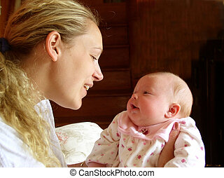 Mother's Love - Mother and infant visually bonding