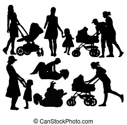 Mothers With Baby Strollers Silhouettes, art vector design