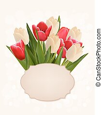 Mothers's Day holiday background with bouquet of colorful flowers.. Vector illustration.