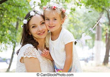 Mothre and daughter cheek to cheek