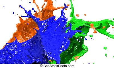 moti, gefärbt, spritzer, langsam, farbe
