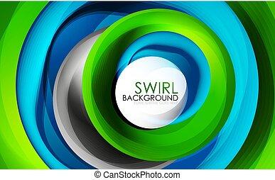 motie, concept, abstract, vloeiend, lijnen, spiraal, ronddraaien, vector, achtergrond, digitale , kolken, 3d, design.